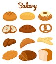 Set of colorful bakery icons depicting pretzels muffins loaves bread bagel croissants cakes and donuts vector clipart Royalty Free Stock Photography