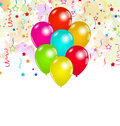Set colorful balloons and confetti for your party illustration Stock Image