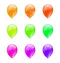 Set colorful balloons isolated on white illustration background Stock Image