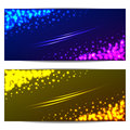 Set colorful banners with stars and sparks two for your business Royalty Free Stock Photo