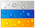 Set of colorful banners with water drops Royalty Free Stock Photo