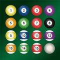 Set of colorful billiard balls