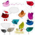 Set of colorful birds Stock Image