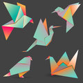 A set of 5 colorful birds made of paper in origami technique. Ve Royalty Free Stock Photo