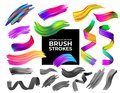Set of colorful and black and white brush strokes oil or acrylic paint design element. Creative concept of digital painted color s