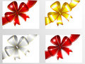 Set of colorful bows Stock Photos