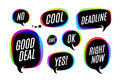 Set of colorful bubbles, icons or cloud talk with text
