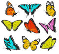 Set of colorful butterflies vector illustration Stock Photo