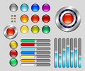 Set of colorful buttons and sliders glossy Royalty Free Stock Images