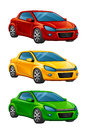 Set colorful car white background Stock Images