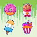 Set of colorful cartoon Fast Food Fries icons.Cupcake Isolated vector