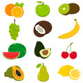 Set of colorful cartoon fruit icons on white. Vector
