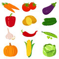 Set of colorful cartoon vegetables icons on white. Vector