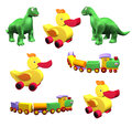 Set of colorful children's toys: duck, dino, train isolated Stock Image