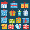 Set of colorful christmas gift boxes Royalty Free Stock Photo