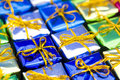 Set of colorful Christmas gifts Stock Images