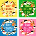 Set of Colorful Christmas Greeting Cards Illustration Royalty Free Stock Photo