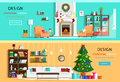 Set of colorful christmas interior design house rooms with furniture icons christmas wreath christmas tree fireplace flat styl Stock Photo