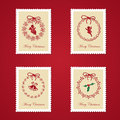 Set of colorful christmas postage stamps vector illustration Stock Image