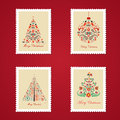 Set of colorful christmas postage stamps vector illustration Stock Images
