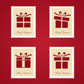 Set of colorful christmas postage stamps vector illustration Stock Photo