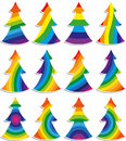 A set of colorful Christmas trees Royalty Free Stock Images