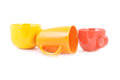 Set of colorful cups on white Stock Image