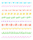 Set of colorful cute ornament stripes. Wax crayon chalk hand drawn patterned background. Group of fun hand drawing pattern.