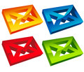Set of colorful d envelope mail icons Stock Photos