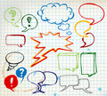 Set of colorful doodle speech bubbles Royalty Free Stock Photo