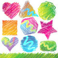 Set of Colorful Doodled Shapes Royalty Free Stock Photo