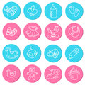 Set of colorful doodles icons about baby goods