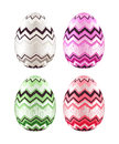 Set of colorful easter eggs decorated with zigzag pattern realistic illustration pink green white and red Stock Images