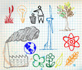 Set of colorful ecology hand-drawn icons Stock Images