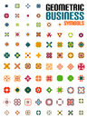 Set of colorful editable business symbols concepts geometric shapes decoration techno icons Stock Photos