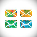 Set of colorful envelopes symbol with colorful geometric graphic, vector & illustration Royalty Free Stock Photo