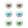 Set of colorful eyes. Brown, blue, green eye