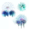 Set of colorful fireworks light on white background Royalty Free Stock Photo