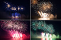Set of colorful fireworks in a night sky over river Royalty Free Stock Image