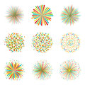 Set of colorful fireworks on white background, vector Royalty Free Stock Photo