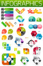 Set of colorful flat paper infographic design elements Royalty Free Stock Photo