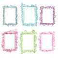 Set of colorful floral doodle frames Royalty Free Stock Photo