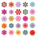 Set of colorful flower icons Stock Photography