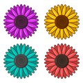 Set of colorful flowers. Vector