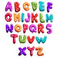 Set of colorful font in form balloons. Children`s English alphabet. Letters from A to Z. ABC concept. Flat vector design Royalty Free Stock Photo