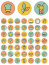 Set of colorful food and drinks icons vector on different color background Stock Photography
