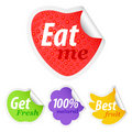 Set of colorful fruit advertising stickers Royalty Free Stock Photography