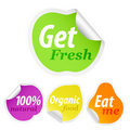 Set of colorful fruit advertising stickers. Stock Image