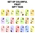 Set of colorful fruit gift tags. Flat design collection of isolated fruit labels