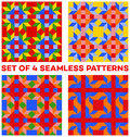 Set of 4 colorful geometric seamless patterns with rhombus, triangles and squares of blue, green, orange, yellow and red shades Royalty Free Stock Photo